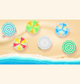 set colorful beach umbrellas on background vector image
