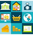set flat business commerce icons design con vector image vector image