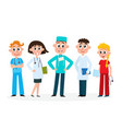 set of medical staff - doctors nurse and surgeon vector image vector image