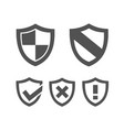 set of protection shield icons on a white vector image vector image