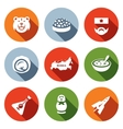 set russia icons bear caviar soldier vector image
