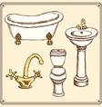 sketch bathroom equipment in vintage style