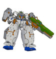 strong robot with big gun on white background vector image vector image