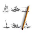 summer recreation - flyboarding water vector image vector image