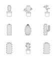 types of cactus icon set outline style vector image vector image