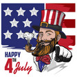 uncle sam bearded character vector image vector image