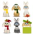 christmas rabbits set vector image