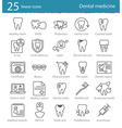 dental medicine thin line icons set vector image