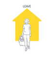 a girl with suitcase goes on trip and at home vector image