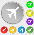 airplane icon sign Symbol on five flat buttons vector image vector image