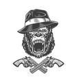 angry gorilla head in fedora hat vector image vector image