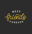 best friends forever hand written brush lettering vector image vector image