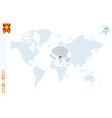 blue world map with magnifying on macedonia vector image vector image