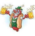 bratwurst hotdog beer cartoon vector image vector image