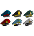 cartoon different peaked caps with cockade vector image vector image
