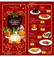 Christmas menu template for restaurant design vector image vector image