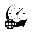 clock with arrow and gear icon vector image vector image