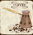 Coffee background with copper turk vector image