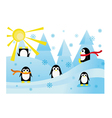 Colorful with funny penguins in snow vector image vector image