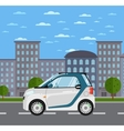 compact white smart car on road in city vector image