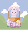 cute rabbit in basket and eggs of easter vector image vector image