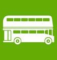 double decker bus icon green vector image
