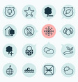 eco-friendly icons set with no bonfire cut tree vector image vector image