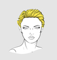Face of blonde woman with short haircut vector image vector image