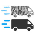 fast delivery car collage of binary digits vector image