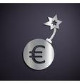 Flat metallic logo euro sign vector image vector image