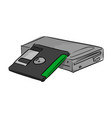 floppy data storage diskette and a drive vector image