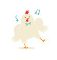 funny a dancing chicken in a bow vector image