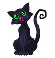 funny sly black cat with green eyes and curved vector image vector image