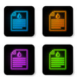 glowing neon medical clipboard with blood test vector image vector image