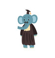 graduate elephant in mantle and cap cute animal vector image vector image