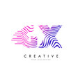 gx g x zebra lines letter logo design with vector image
