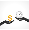 Hand hold dollar and clock symbol to compare vector image vector image