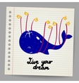 Happy whale and birds doodle vector image vector image