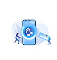 huge phone screen with audio player and people vector image vector image