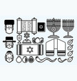 jewish icon set cartoon graphic vector image