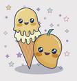kawaii mango and ice cream vector image vector image