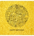 Line Happy Birthday Gold Concept vector image vector image