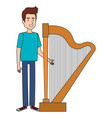 man playing harp character vector image