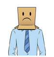 man with box sad emoji on head pop art vector image vector image