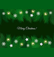 merry christmas greeting card with pine branch vector image vector image