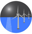 modern windmills in the sea vector image vector image