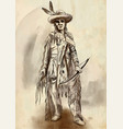native american an hand drawn vector image