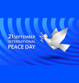 peace day banner with white origami dove vector image vector image