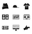 rap icon set simple style vector image
