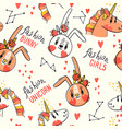 seamless pattern with faces bunny and rainbow vector image vector image
